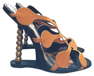 Manolo Blahnik black, orange, gold Sandals