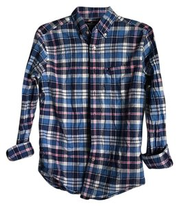 American Eagle Outfitters Button Down Shirt Blue Plaid