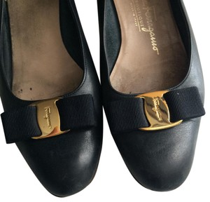 Salvatore Ferragamo Navy Blue Flats