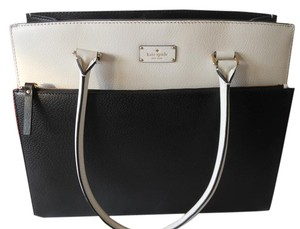 Kate Spade Two-tone And White Leather Tote in Black / Cement