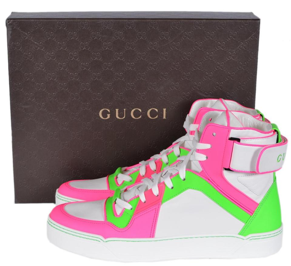 8a0263fa70841 Gucci Multi-color Men s 386738 Neon Pink Green Leather High Top ...