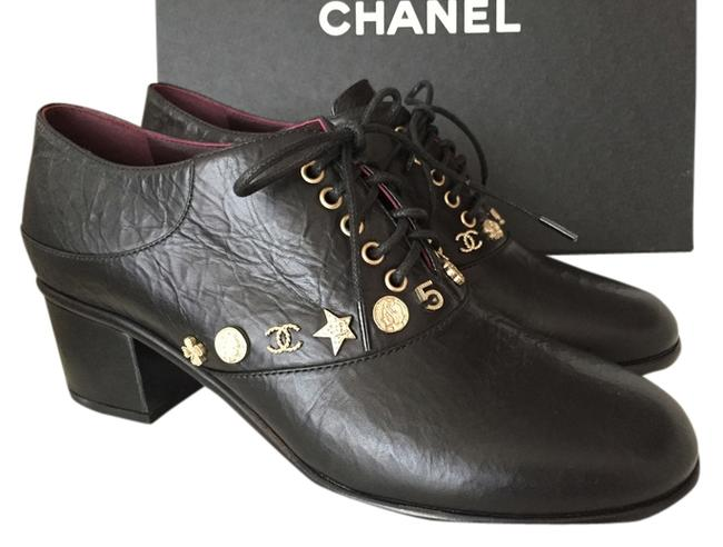 """Item - Black Leather """"Dallas"""" Collection Oxfords Lace Up with Charms 38 Formal Shoes Size US 8 Wide (C, D)"""