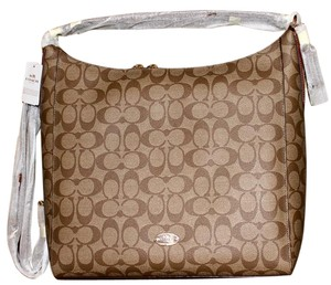 Coach Signature Brown Cross Body Leather Hobo Bag