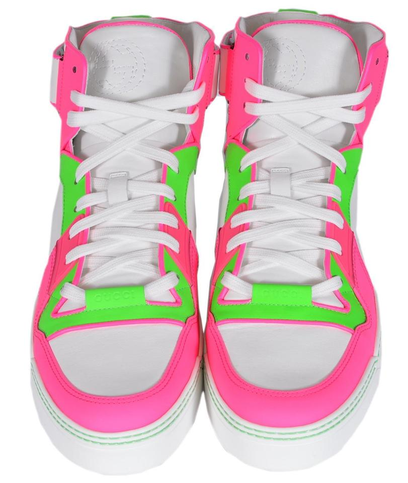 gucci men 39 s 386738 neon pink green leather high top sneakers trainers multi color athletic shoes. Black Bedroom Furniture Sets. Home Design Ideas