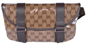 Gucci Gucci 374617 Crystal Line Canvas GG Guccissima Fanny Pack Sling Bag