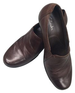 Clarks Leather Slip On Brown Mules