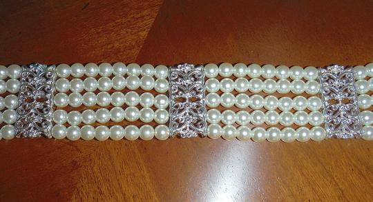 Other Like NEW Stunning Five Row White Pearl Choker with Silver Stations and Extender --Bridal, Prom, Formal