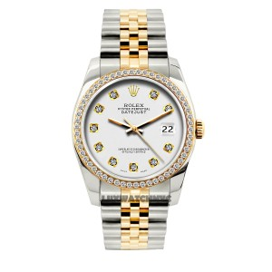 Rolex 36MM ROLEX DATEJUST 2-TONE DIAMOND WATCH W/ ROLEX BOX & APPRAISAL