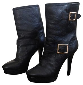 Jimmy Choo Leather Gold Hardware Platform Midcalf Black Boots