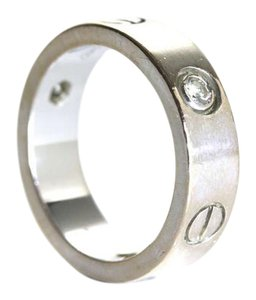 Cartier Cartier 18k White Gold 3 Diamond Love 1998 Band Ring Sz 54 US 7