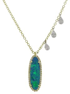 Meira T Meira T 14k Yellow Gold Opal & 0.24ctw Diamond Pendant Necklace