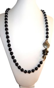 Handcrafted Asymetrical Long Black and Grey Pearl With Lampworked Glass Bead Accents Necklace