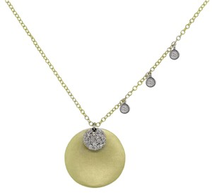 Meira T Meira T 14k Two Tone Gold 0.17ctw Diamond Disc Pendant Necklace