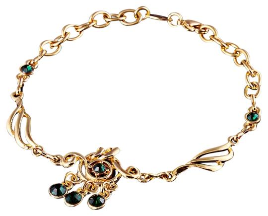 Other 8.07'' Alluring 9K Yellow Gold Filled Dark Green Crystal Charm Bracelet