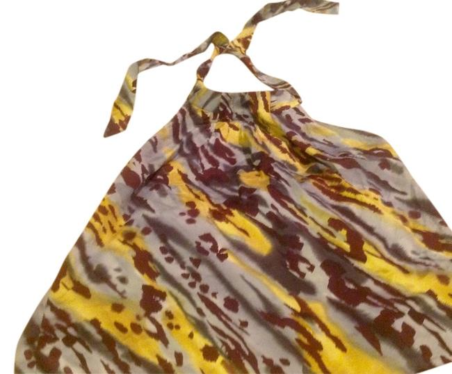 Item - Abstract Grays Blues and Burgundy Vibrant Colors Silk Feel. Like New Halter Top Size 12 (L)