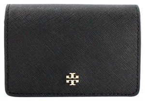 Tory Burch York Foldable Leather Card Case, Black