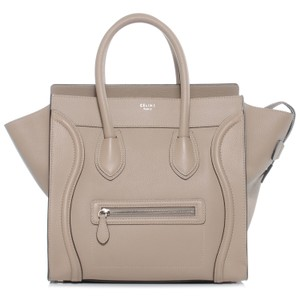 Céline Drummed Grained Leather Tote in Dune