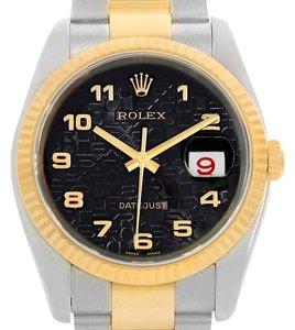 Rolex Rolex Datejust Steel 18K Yellow Gold Black Dial Watch 116233