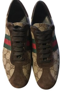 Gucci Brown Suede, GG Canvas, Red & Green stripes Flats