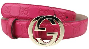 Gucci New Gucci Fuchsia Guccissima Leather Belt 80/32 114874 5614