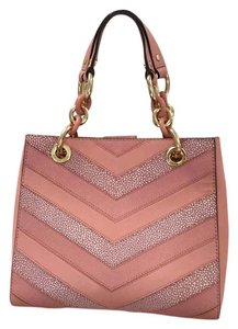 Michael Kors Leather Chevron Gold Hardware Stripes Tote in Pink