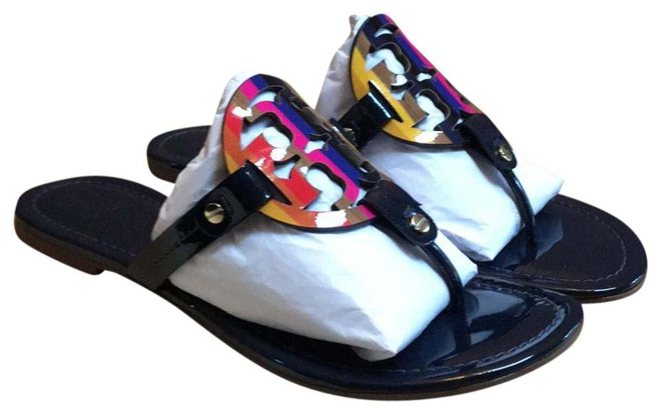 63389bb3b209 Tory Burch Royal Navy Miller Rainbow Logo Flip Flop Sandals Size US ...
