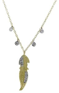 Meira T Meira T 14k Yellow Gold 0.15ctw Diamond Feather Necklace