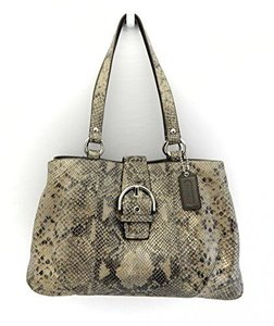 Coach Soho Snakeskin Leather Python Satchel in Gray/Taupe