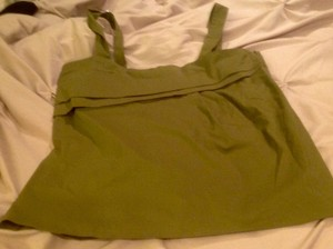 New York & Company Front Large Pleats Top Green