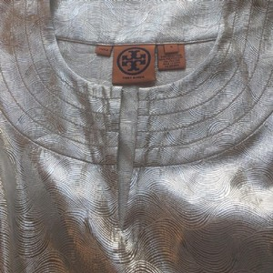 Tory Burch Chic Party Cocktail Fancy Top Silver