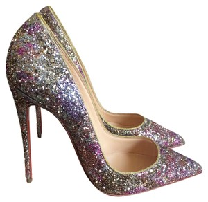 Christian Louboutin Rose Formal Glitter: Rosette Gold Pumps