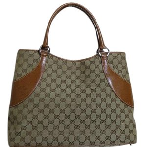 Gucci Canvas Leather Tote in Beige and brown