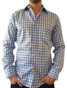 Nordstrom Gingham Mens Dress Shirt Button Down Shirt Blue and white