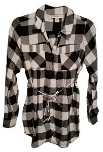 Motherhood Maternity Button Down Shirt Black and White