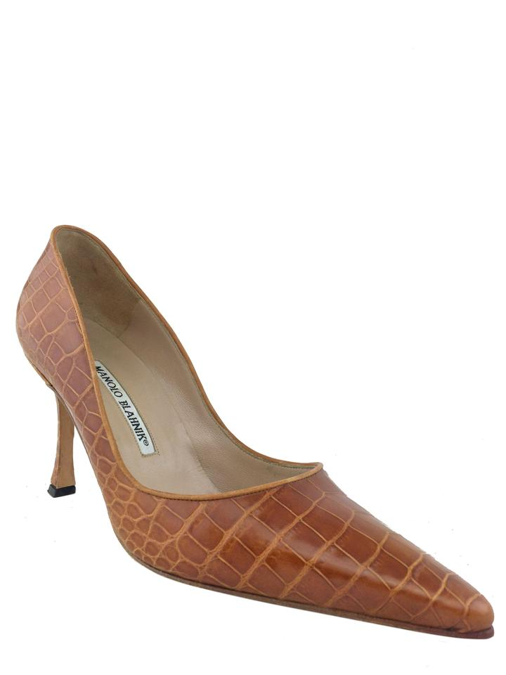 2cdfac1826152 Manolo Blahnik Browm Crocodile Bb Pumps Size US 8.5 Regular (M, B ...