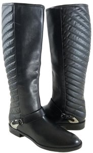 Stuart Weitzman Equestrian Style Calf Leather Upper Quilted Calf Panel Pull-on Made In Spain Black Boots