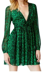 MICHAEL Michael Kors short dress Green/Black Print V-neck Longsleeve on Tradesy