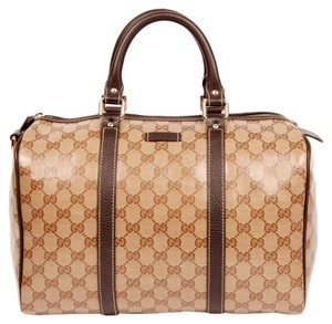 Gucci Monogram Canvas Gg Satchel in Beige/Brown