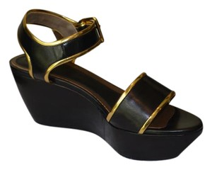 Marni Wedge New Black and Gold Sandals