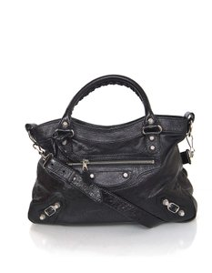 Balenciaga Town Satchel Distressed Leather Tote in Black
