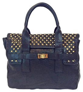 Be&D Studs Flap Dust Magnetic Leather Tote in Black
