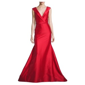 Pamella Roland Mikado V-neck Gown Dress