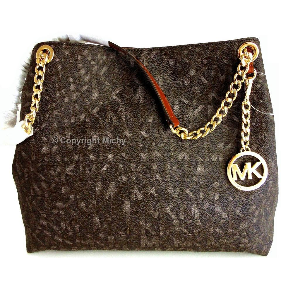e16bfdf792773c Michael Kors Jet Set Chain Large Tote Brown Coated Canvas / Leather Trim  Shoulder Bag - Tradesy