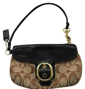 Coach Wristlet in Brown Taupe Cloth With Black Leather