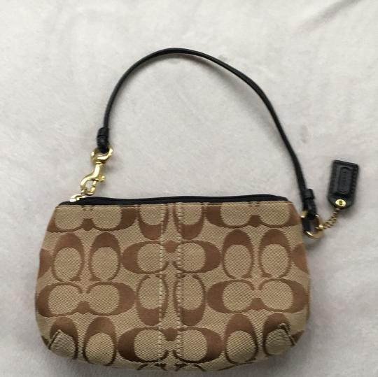 Coach Wristlet in Brown Taupe Cloth With Black Leather Image 1
