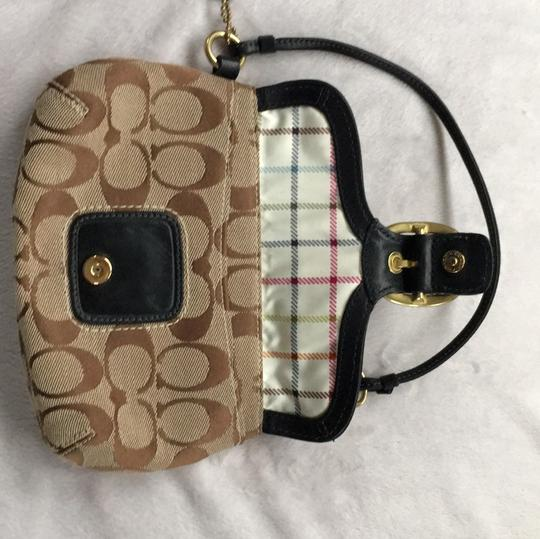 Coach Wristlet in Brown Taupe Cloth With Black Leather Image 4