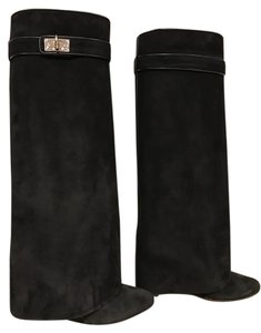 Givenchy Suede Shark Lock Wedge Stiletto black Boots