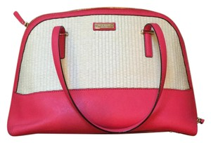 Kate Spade Satchel in woven with bright pink/salmon leather