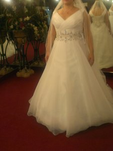 Rhinestone Banded Ballgown With Cathedral Train Wedding Dress