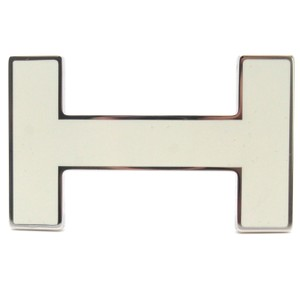 Hermès #10037 32mm White H Logo Enamel reversible belt Quizz buckle